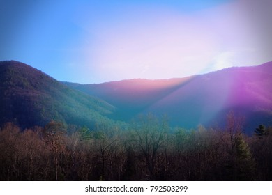 Smoky Mountains Landscape Nature Photography in the Bright Colorful Sun Light Rays.