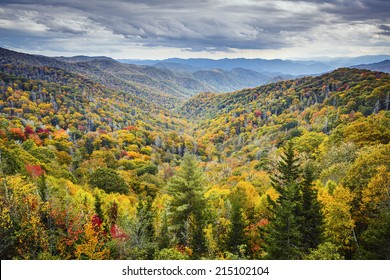 Smoky Mountains National Park, Tennessee, USA autumn landscape at Newfound Gap.