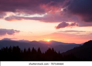 Smoky Mountains ridge at sunrise. Great Smoky Mountains National Park, USA