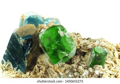 Smoky Quartz, blue Topaz, green Fluorite on Quartzite material