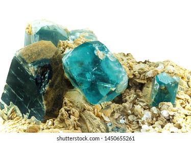 Smoky Quartz and blue Topaz on Quartzite material