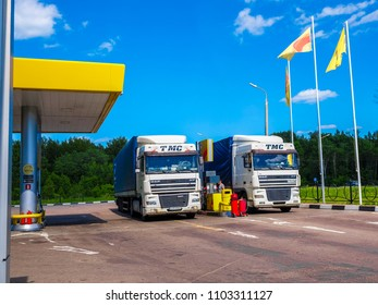 Smolensk region, Russia - May, 29, 2018: Trucks on a petrol station in Smolensk region, Russia