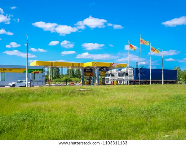 Smolensk region, Russia - May, 29, 2018: Trucks on a petrol station in Smolensk region, Russia
