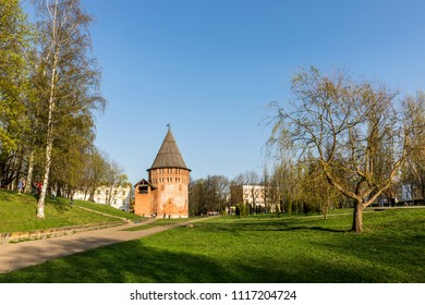 Smolensk, Russia - May 1, 2018:  fortress wall, the longest of all fortresses and kremlin in Russia