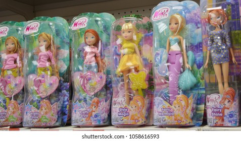Smolensk, Russia-March, 30,2018: Packages with Winx dolls on the shelf of a children's toy store