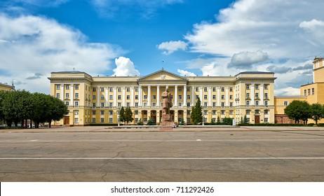 SMOLENSK/RUSSIA - JUNE 30, 2017: Central Square with Lenin monument in Smolensk city, Russia