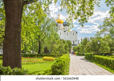 Smolensky Cathedral in the Novodevichy convent in summer, Moscow