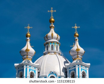 Smolny Cathedral detail, part of the architectural ensemble of the Smolny Monastery, in a sunny day. Saint Petersburg, Russia.