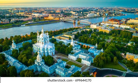 Smolny Cathedral with a view of Bolsheokhtinsky bridge. St. Petersburg view of the Neva River.