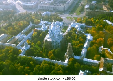 Smolny Cathedral - wide angle aerial view [#4916]