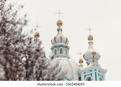 Smolny cathedral winter russian orthodox church Saint-Petersburg
