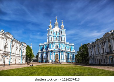 Smolny Resurrection of Christ Cathedral in St. Petersburg. Russia