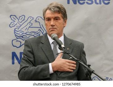 Smolygiv, Volyn / Ukraine - December 08 2009: Ukrainian politician Viktor Yushchenko who was the third President of Ukraine during the opening of the plant Nestle