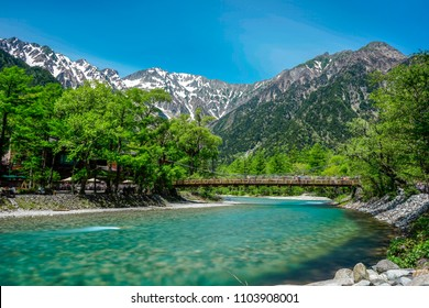 Smoot reflection of Japan Alps view point from kappa bridge in Kamikochi Japan