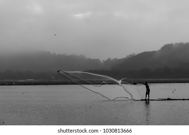 Smooth black and white view of fisherman