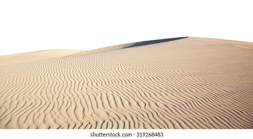 smooth curve of barchan dune isolated on white