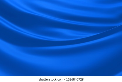 Smooth elegant blue transparent cloth separated on white background.