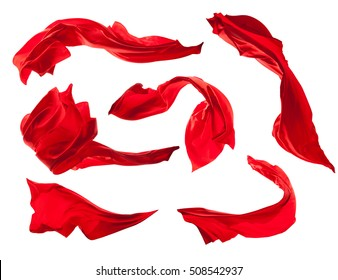 Smooth elegant red satin cloth collection isolated on white background