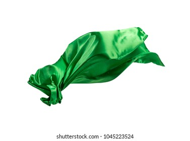 Smooth elegant transparent green cloth isolated or separated on white studio background. Texture of flying fabric.