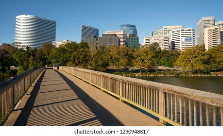 The smooth flowing Potomac River reflects the buildings of Alexandria Virginia