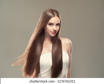 Smooth hair woman brunette with long hairstyle fly hair beauty