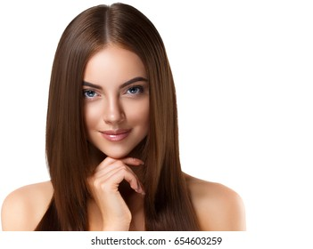 Smooth hairstyle girl beautiful skin care portrait