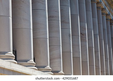 Smooth limestone columns