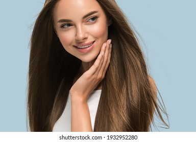Smooth long hair woman beautiful portrait