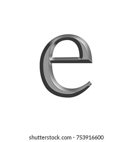 Smooth metallic gray lowercase or small letter E in a 3D illustration with a shiny silver metal surface finish and classic style font isolated on a white background with clipping path.