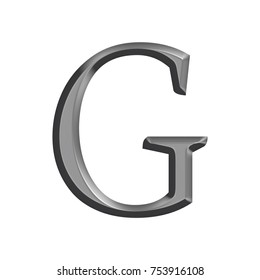 Smooth metallic gray uppercase or capital letter G in a 3D illustration with a shiny silver metal surface finish and classic style font isolated on a white background with clipping path.