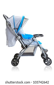 Smooth pram stroller carriage for young baby isolated on white