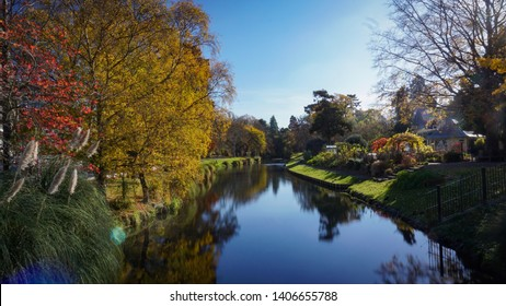 A smooth river in Hagley Park, Christchurch, New Zealand. Taken in autumn.