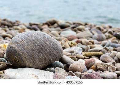 smooth rock or bigger pebble on the beach, in Turkey, near Istanbul