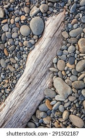Smooth stones on driftwood at Ruby Beach, Olympic Peninsula, Olympic National Park, Washington