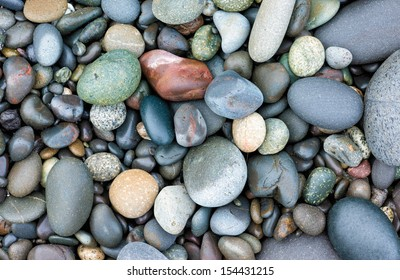 Smooth stones on the Rialto Beach in Olympic National Park, Washington