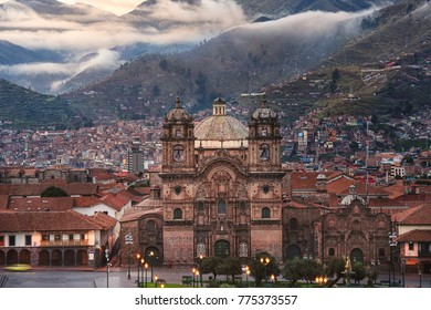 Smooth Sun rise with perfect weather on plaza de armas, Cusco, P