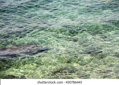 Smooth transparent water near the shore