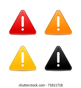 Smooth triangular attention web 2.0 button with exclamation mark and shadow on white. Bitmap copy my vector ID: 60007384