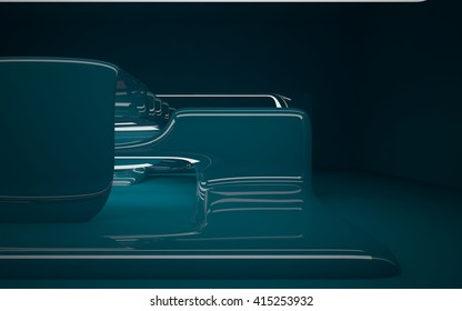 smooth turquoise sculpture. 3D illustration. 3D rendering