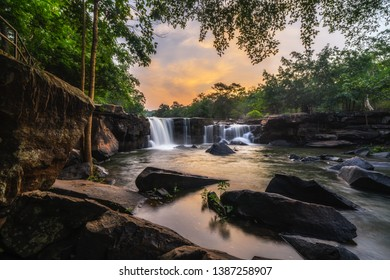 Smooth Waterfall in the Forest at Twilight time. Tat Ton Waterfall at Tat Ton National Park, Chaiyaphum Province, Thailand.