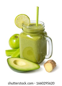 Smoothie apple, avocado, ginger, lime, celery in a glass jar with ingredients Isolated on a white background. Selected focus.