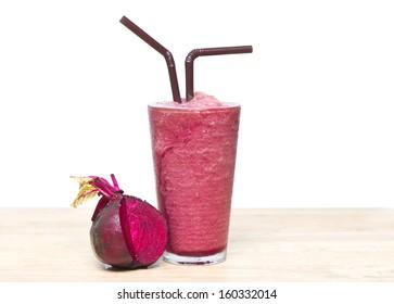 Smoothie Beetroot juice, Healthy drink on wood