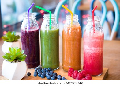Smoothie with different tastes and colors