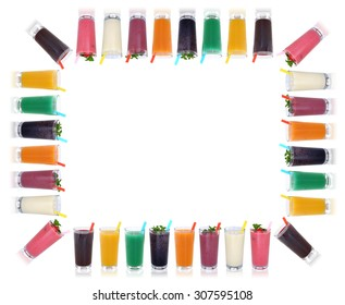 Smoothie fruit juice smoothies drinks with fruits frame and copyspace isolated on a white background