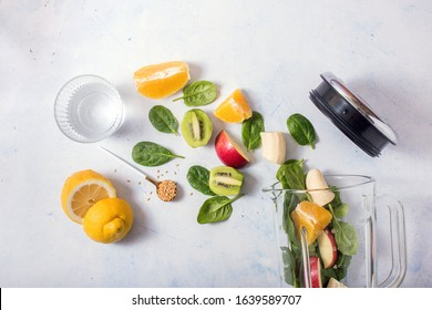 Smoothie ingredients in mixer, spring detox, nutrition consultation