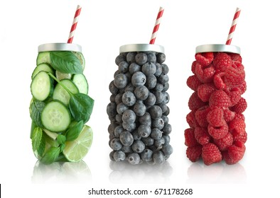 Smoothie jar shape fruits and vegetables