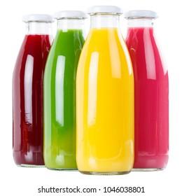 Smoothie juice orange smoothies in bottle square isolated on white