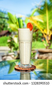Smoothie protein shake with fresh fruit. Power and energy drink. Healthy vitamin breakfast cocktail on the table