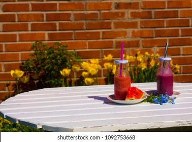 smoothie watermelon and blueberry on the summer background
