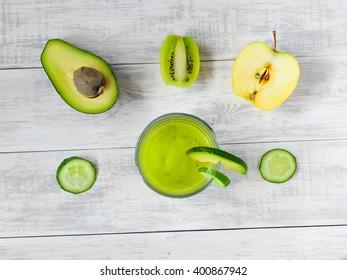 Smoothies avocado and kiwi, top view
